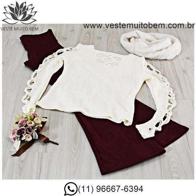 Blusa de Lã detalhe na gola e manga  Calça Flare Piquet #vestemuitobem #moda #modafeminina #modaparameninas #estilo #roupas #lookdodia #like4like #roupasfemininas #tendência #beleza #bonita #gata #linda #elegant #elegance
