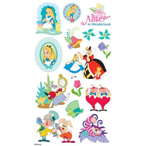 EK Disney© Sticker Alice In Wonderland There is no one quiet as curious as Alice. Brighten up any scrapbook page or paper crafting project with these stickers featuring 3 portraits of Alice, Alice wit