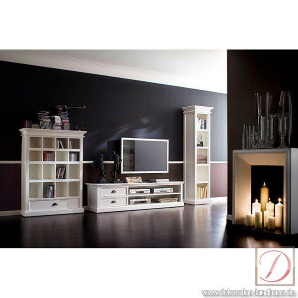 Fernsehtisch HALIFAX weiß B180cm Massivholz TV-Board - Hochwertiger Fernsehtisch im Landhausstil in weiß.