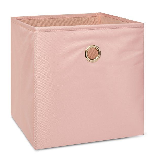 Mainstays Collapsible Fabric Cube Storage Bin Pearl Blush Walmart Com In 2020 Cube Storage Bins Pink Storage Bins Storage Bins