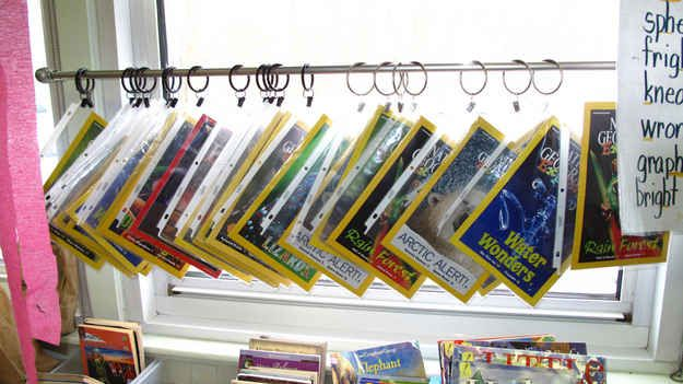 Hang magazines onto a curtain rod with shower curtain rings.