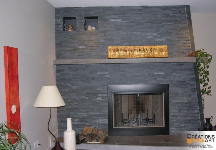 Fireplace Covered With Realstone Systems Charcoal