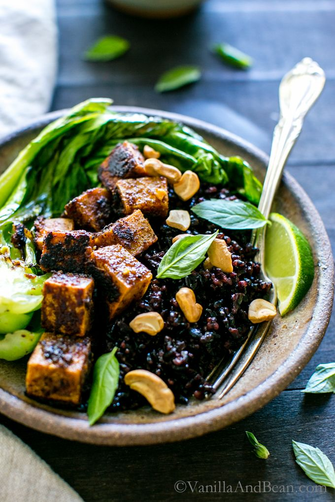 Spicy Peanut Tofu Bowl with Coconut Forbidden Rice by vanillaandbean #Rice_Bowl #Tofu #Coconut