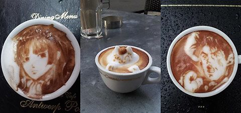 Illustrations of anime characters made in the foam of latte