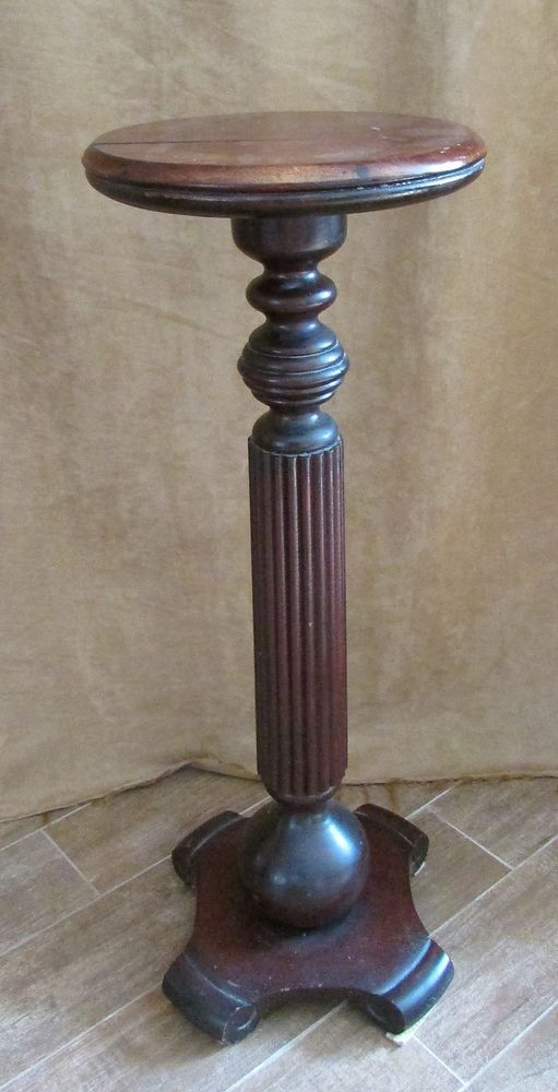 Pedestal Plant Stands ~ Antique wood column pedestal sculpture plant stand art