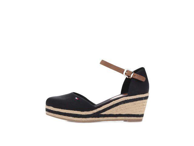 Černé dámské nižší bavlněné boty na klínku Tommy Hilfiger -