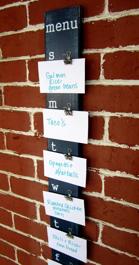 Menu Board - pre-make notecards w/recipe on the back-We could make this!!
