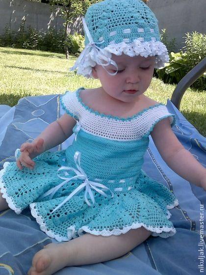 Комплект для девочек (Платье, Панама) - голубой,однотонный,ажурное платье