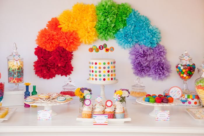 Rainbow Dessert Table and Rainbow Cake | Amy Atlas Events