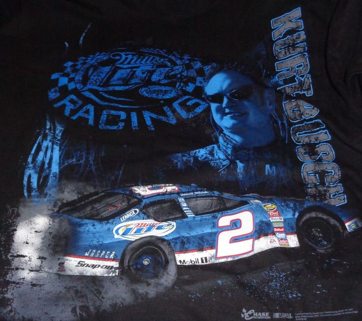 Mens NASCAR Kurt Bush #2 Miller Lite  Black XL Short Sleeve T Shirt  #ChaseAuthentics #GraphicTee