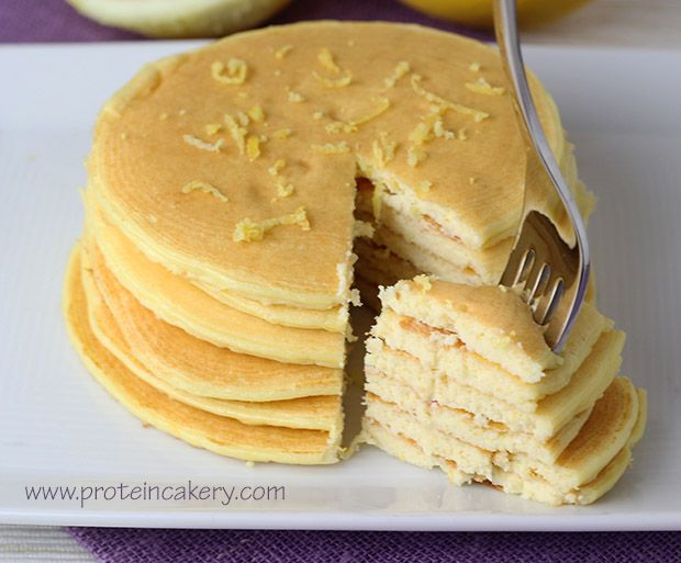 Lemon Ricotta Protein Pancakes - Andréa's Protein      Cakery    1 whole egg ¼ cup part-skim ricotta (63g) ¼ cup natural vanilla whey protein powder (23g) 1 teaspoon coconut flour (2.3g) 1 tablespoon lemon juice 1 teaspoon lemon zest