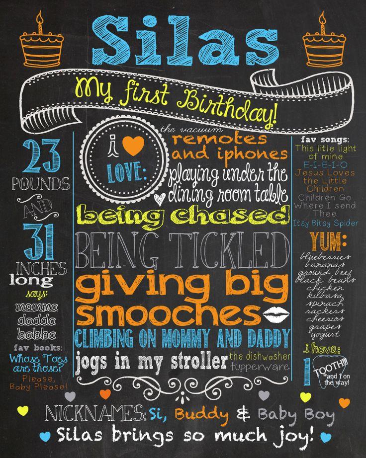 Een kaartje voor de eerste verjaardag van een kind. Creatief en leuk om op deze manier alle informatie over Silas weer te geven. Leuk om zo van elke verjaardag iets te hebben!