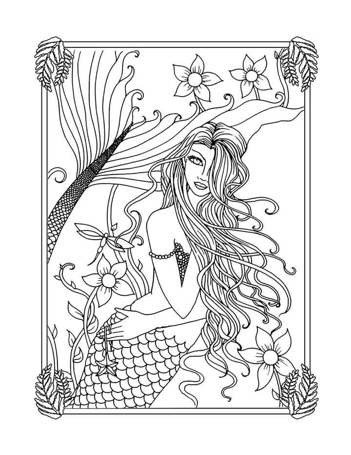 Fresh Water Mermaid Free Coloring Page By Molly Harrison