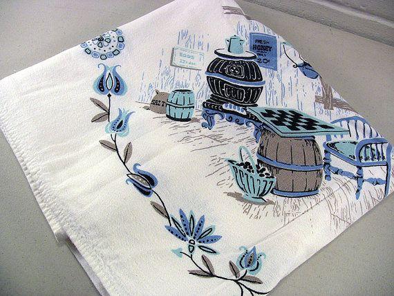 Vintage Card Table Tablecloth Cotton Linen by EclectiquesBoutique