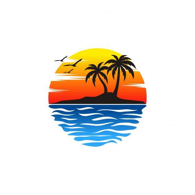 Beach Logo Vectors Beach Logo Beach Drawing Retro Art