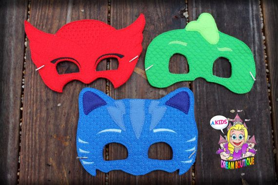 Bedtime Heroes Masks mask red mask blue mask green mask pajamas - PJ Halloween costume - party favor Owl, Cat, Gecko Hero by DazzlingInGrace on Etsy