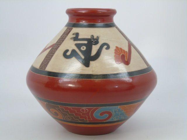 Jose Salazar Signed Art Pottery Southwestern  Vase. Measures 7.5 x 8.5 inches.