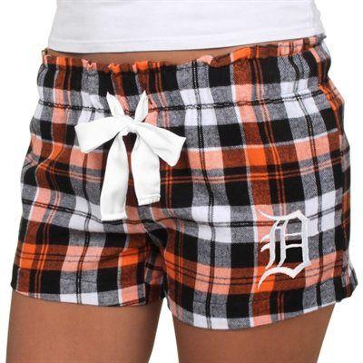 Detroit Tigers Women's Flannel Plaid Shorts – Navy Blue