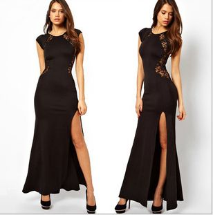 FREE SHIPPING New 2014 Prom Dress.Sexy  Hollow Lace On Back Evening Dresses. Furcal Long Dress. C-005.