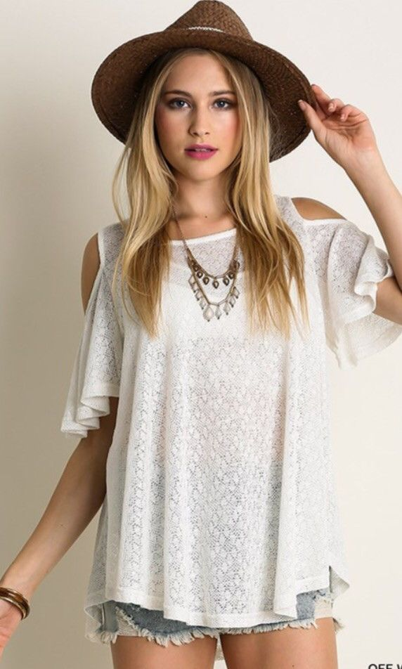 Soft, cold shoulder top in white and peach.