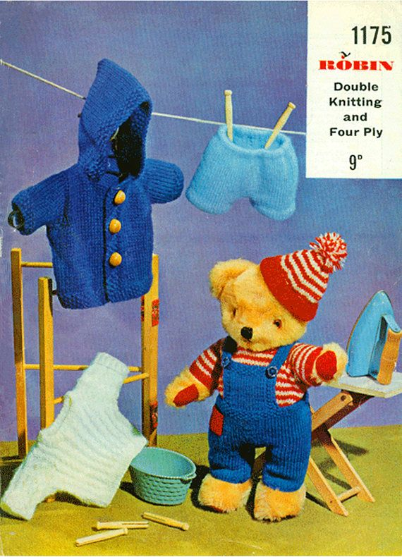 PDF Vintage Teddy Doll Clothes Knitting Pattern Toy Premature