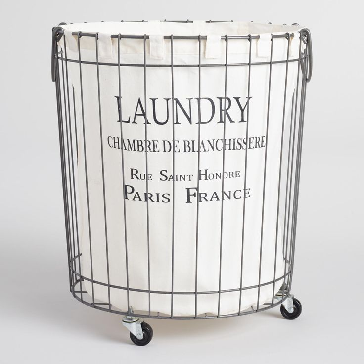 Inspired by Parisian laundry baskets, our Claudette Wire Hamper adds a très chic touch to your laundry time. Sitting atop casters, this stylish rolling hamper includes a removable printed polyester liner.