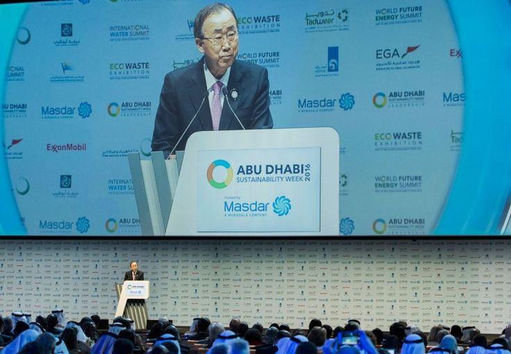Secretário-geral da ONU, Ban Ki-moon, durante a Conferência em Abu Dhabi. Foto: ONU