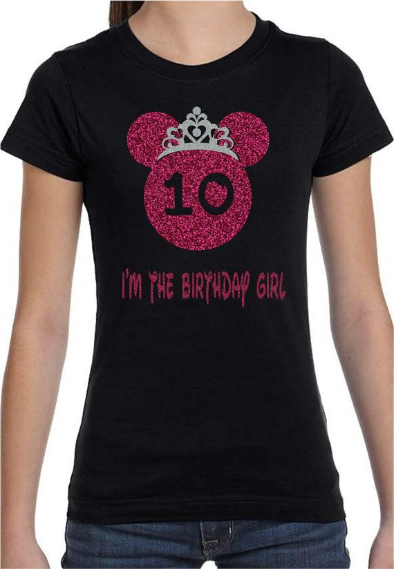 Chemise Disney Princesse anniversaire filles jeunes anniversaire fête rose et paillettes argent.  Cadeau d'anniversaire! 5e 6e 7e 8e 9e 10e anniversaire
