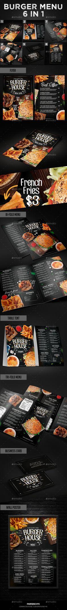 Burger Menu Set — Photoshop PSD #grill #hipster • Download ➝ https://graphicriver.net/item/burger-menu-set/19746741?ref=pxcr