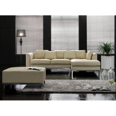 Velago Oslo Modern Leather Sectional Sofa With Ottoman Leathersectionalsofas