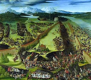 Heller, Ruprecht: Battle of Pavia in 1525, painting, signed, dated 1529, National Museum Stockholm. It is currently the only known work of this artist.