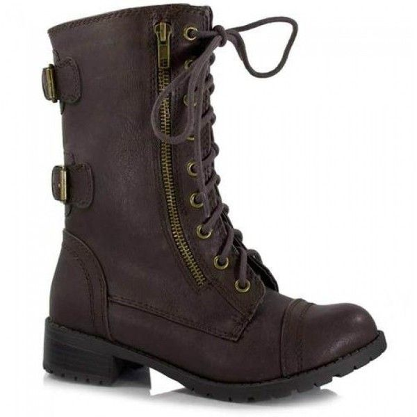 Soda Dome-Sa Vegan Lace Up Mid Calf Women Military Boot ($48) ❤ liked on Polyvore featuring shoes, boots, lace up combat boots, wedge boots, mid calf wedge boots, lace up flats and wide boots