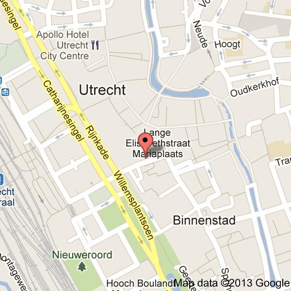 Plattegrond van de binnenstad van Utrecht.  In de buurt van de vergaderlocatie liggen diverse parkeergarages. www.aanleg.eu
