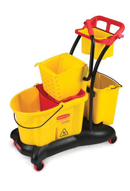 Mobile mopping Trolley side Press: Mobile cart with side press mopping bucket and wringer including 2 additional dirty water buckets and 1 maid caddy.