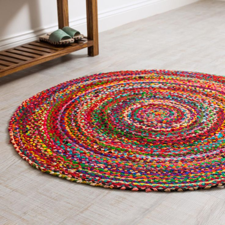 These handmade fair trade Braided Round Rugs will add a splash of colour to any room.  Hardwearing rug that is made from fabric remnants braided into a work of art.