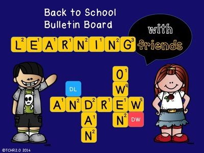 Back To School Words With Friends Scrabble Bulletin Board from TCHR2.0 on TeachersNotebook.com -  (85 pages)  - Back To School Words With Friends Scrabble Bulletin Board