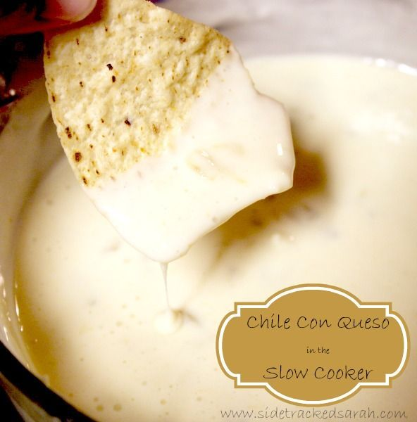 Will be making this for game night! Chile Con Queso Dip for Your Slow Cooker -SidetrackedSarah.com