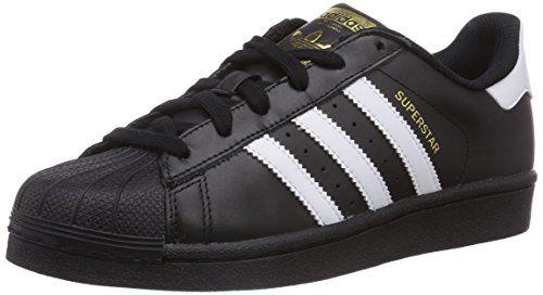 adidas Superstar Schwarz + weiße Streifen Größe 36 2/3 - Achtung: Kindergrößen sind günstiger (um ca. 55€)
