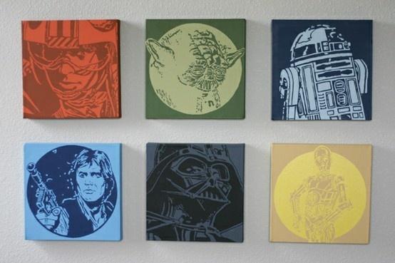 Star WarsDecor Ideas, Kids Room, Star Wars, Stars Wars Art, Stars Wars Room, Boys Room, Wars Canvas, Starwars, Painting Canvas