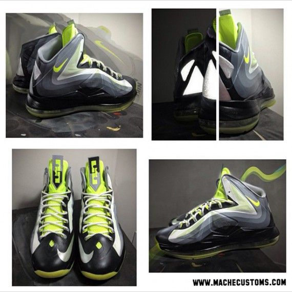 lebron x neon 95 custom 2 570x570 Nike LeBron X Neon 95 by Mache Customs