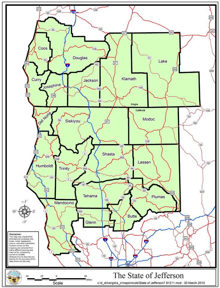 Map Of The Once Proposed State Of Jefferson Comprising South Oregon And Northern California Cascadia Cartography Pinterest