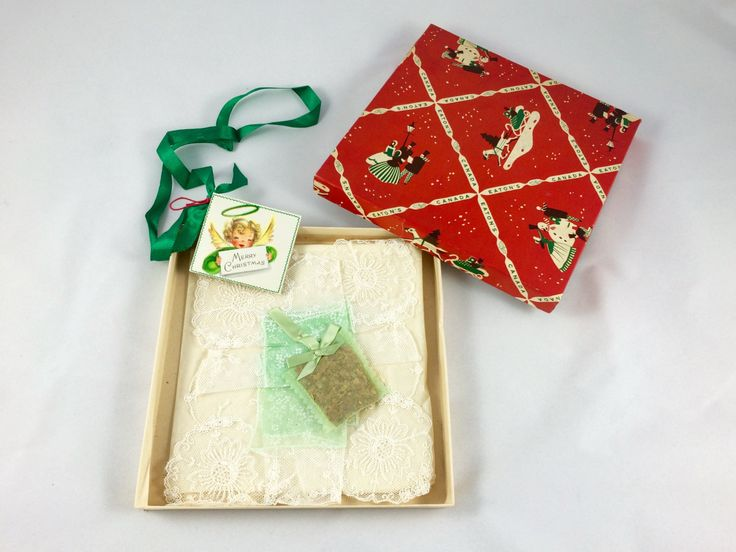 1940s Lace Handkerchief in Original Eaton's Canada Christmas Box by VintageFrancesM on Etsy