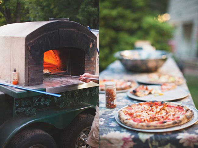 Dinner was catered by a local brick oven catering truck , who made custom pizzas for their guests.