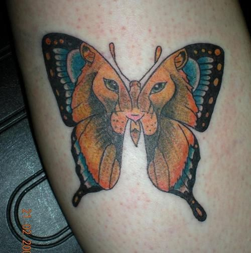 lion face butterfly tattoo design ideas. Black Bedroom Furniture Sets. Home Design Ideas