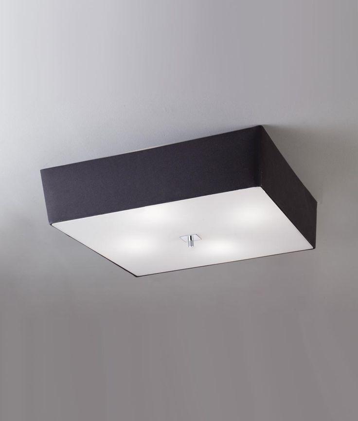 Luminaria plafón de techo AKIRA. Diseño moderno y elegante. Fabricada en metal, cristal y pantalla textil. Fuente de luz 4 x E27 Max 20W (no incl.).