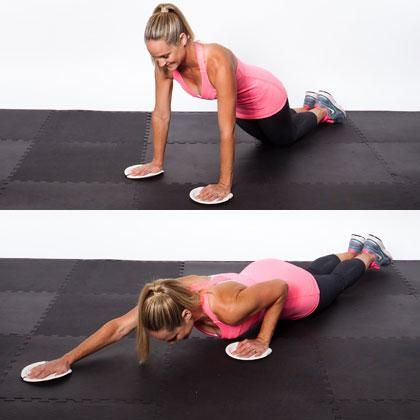 Sliding Triceps Pushup • Tip: Think of pressing your shoulders down as you slide your arm back in at the top of your pushup. This will help engage your back muscles too.