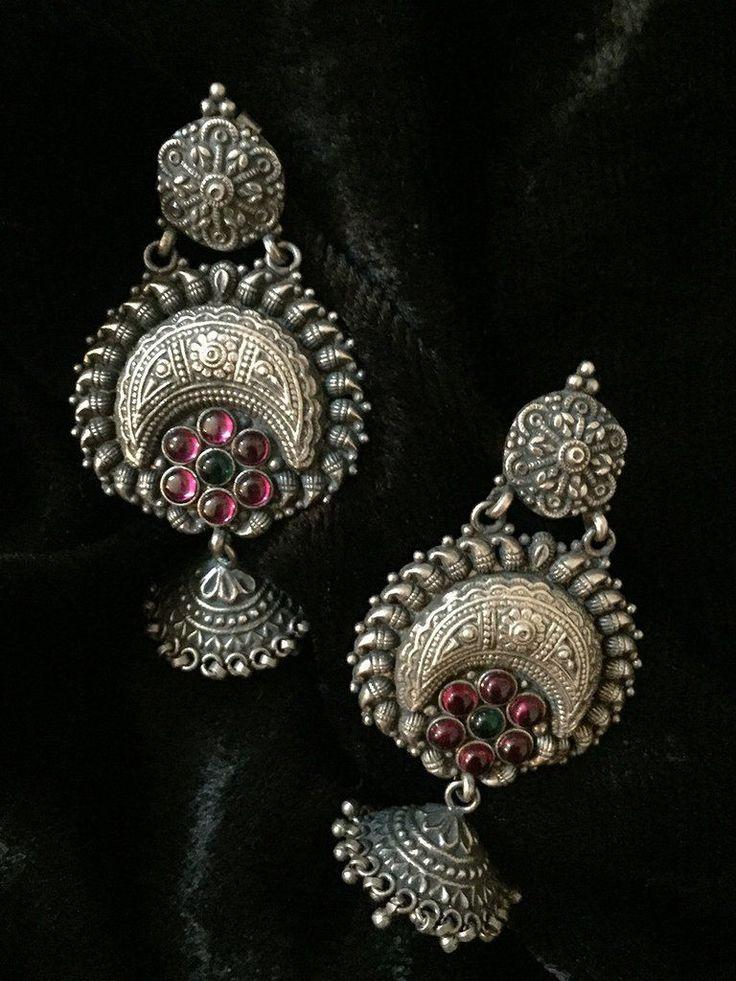 Temple Chand Flower Silver Jhumkies #GoldJewelleryTemple