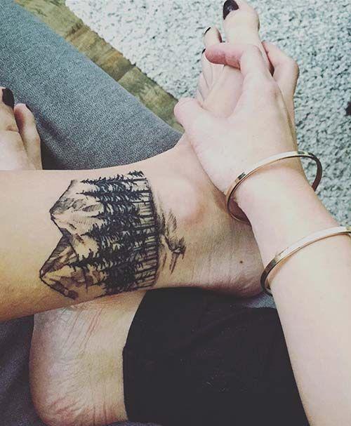 ankle forest tattoo ayak bileği orman dövmesi