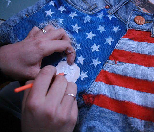 Amerikaanse vlag met textielverf