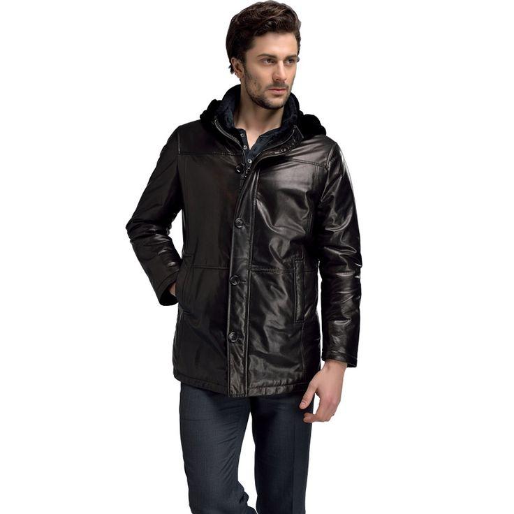 100% Sheepskin Genuine Leather Jacket Man Thicken veste cuir homme Black L-4XL Leather & Suede Leather Down Jackets For Men SD47